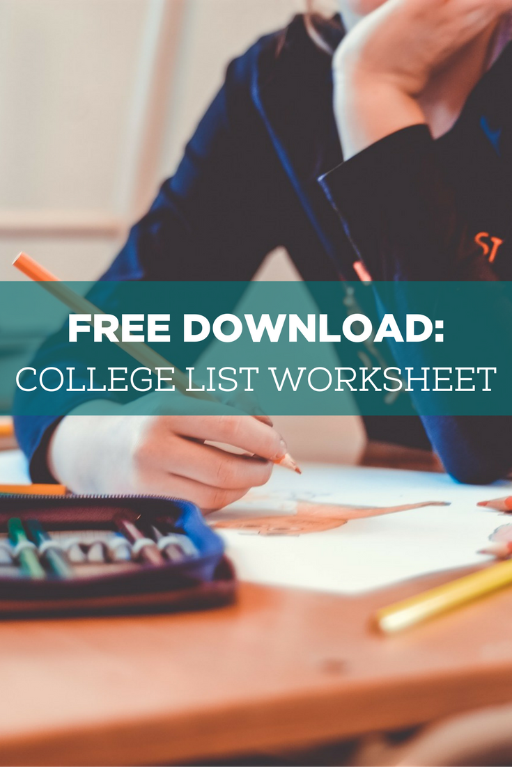 College List Worksheet for College Prep